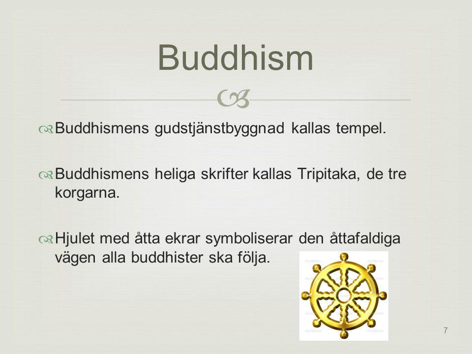 Buddhism  Buddhismens gudstjänstbyggnad kallas tempel.