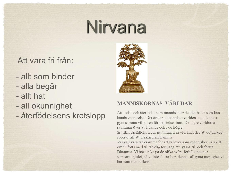 Nirvana Att vara fri från: - allt som binder - alla begär - allt hat