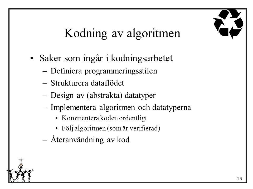 Kodning av algoritmen Saker som ingår i kodningsarbetet