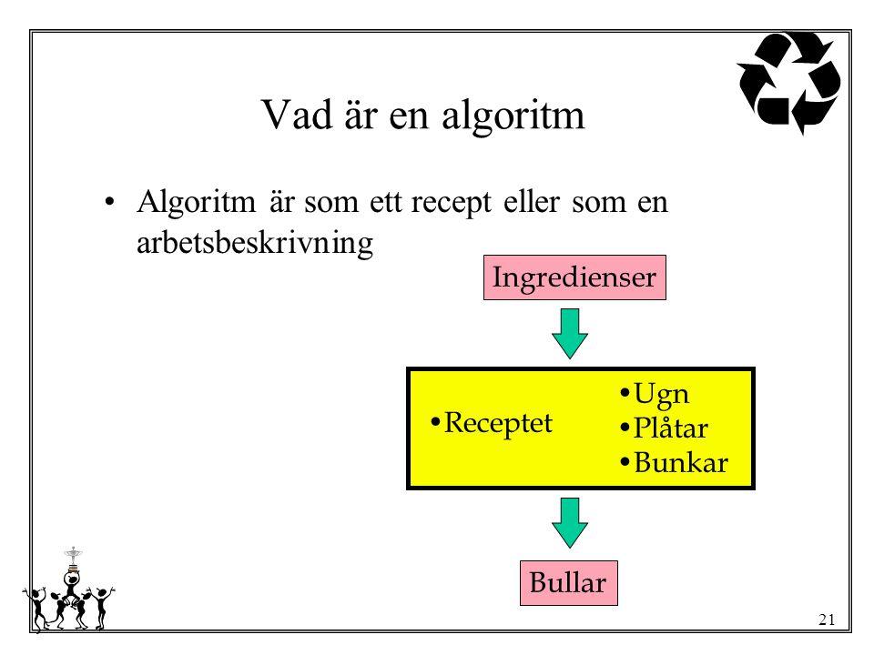 Vad är en algoritm Algoritm är som ett recept eller som en arbetsbeskrivning. Ingredienser. Receptet.