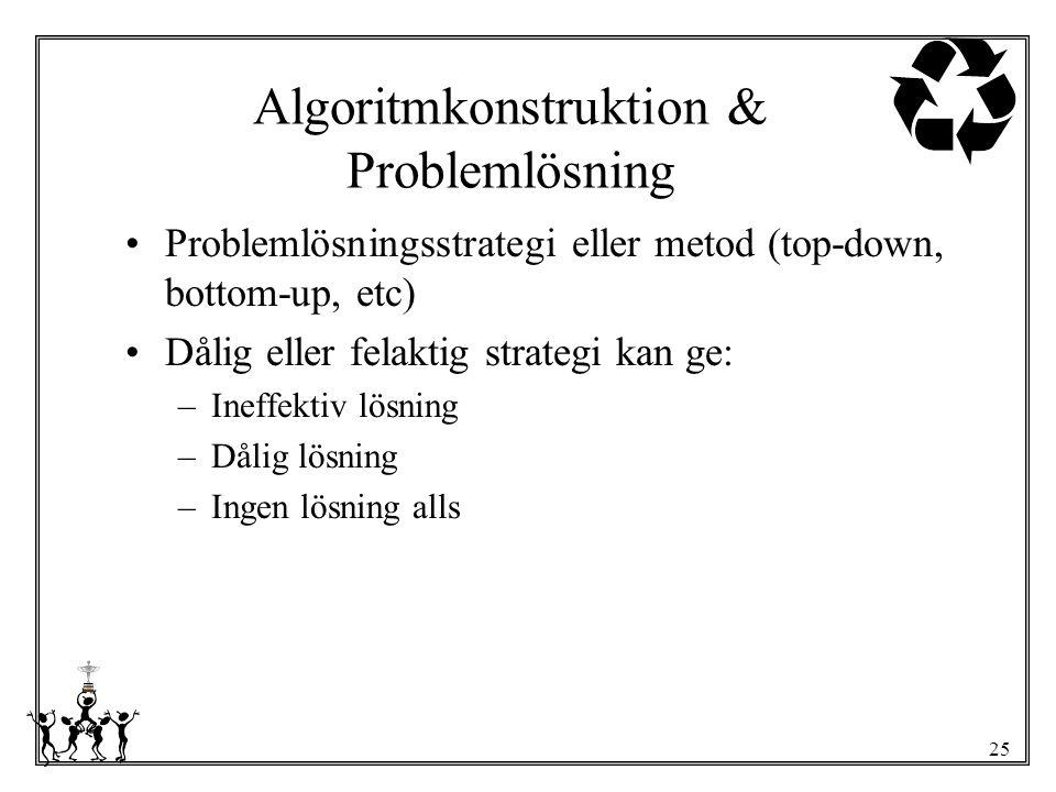 Algoritmkonstruktion & Problemlösning