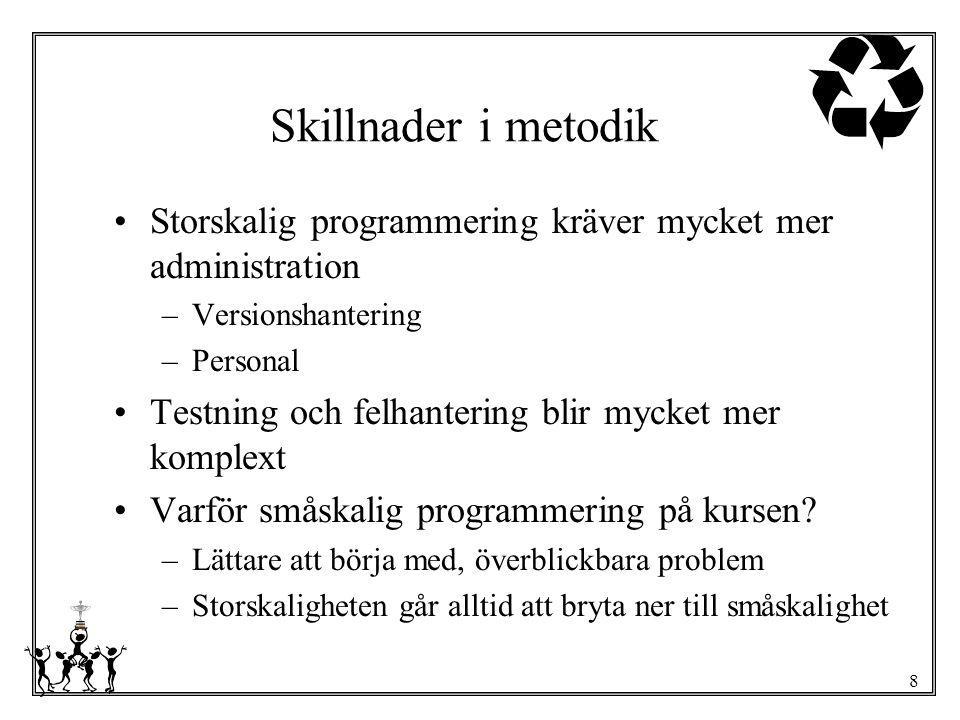 Skillnader i metodik Storskalig programmering kräver mycket mer administration. Versionshantering.