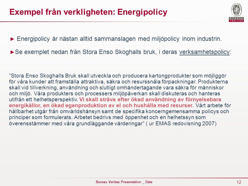 Exempel från verkligheten: Energipolicy