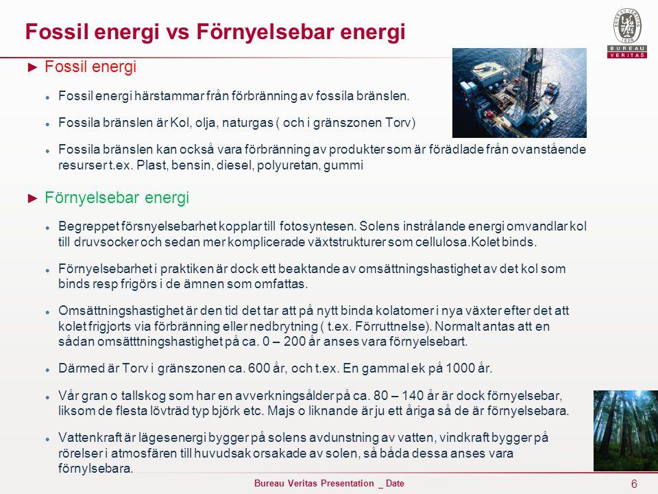Fossil energi vs Förnyelsebar energi