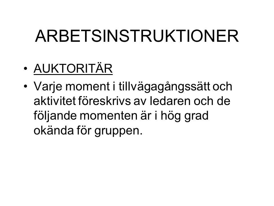 ARBETSINSTRUKTIONER AUKTORITÄR