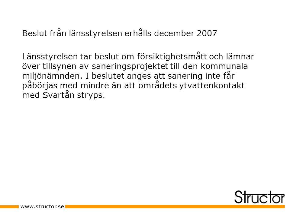 Beslut från länsstyrelsen erhålls december 2007