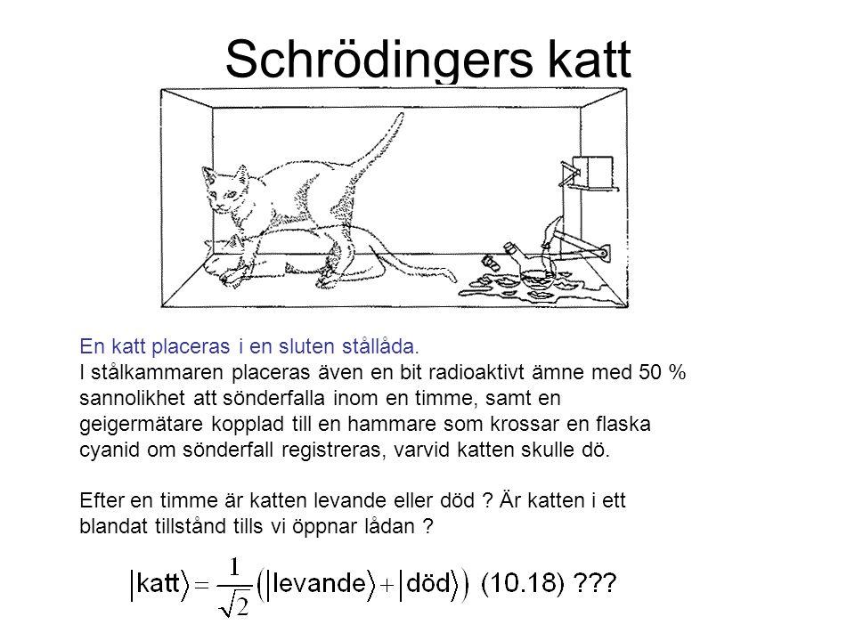 Schrödingers katt En katt placeras i en sluten stållåda.