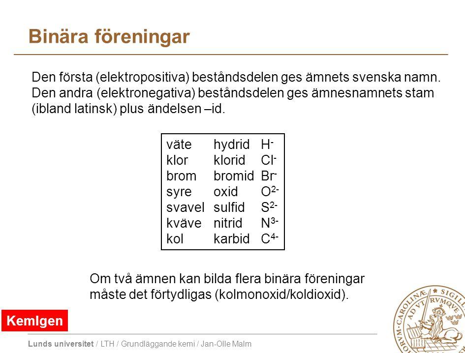Binära föreningar Den första (elektropositiva) beståndsdelen ges ämnets svenska namn.