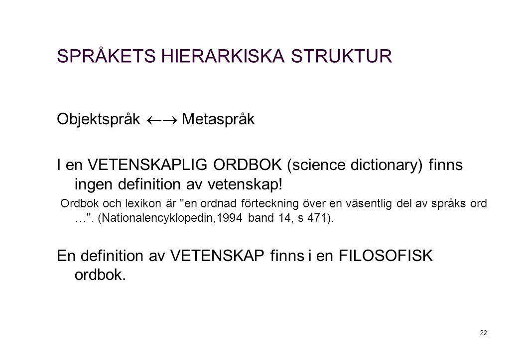 SPRÅKETS HIERARKISKA STRUKTUR