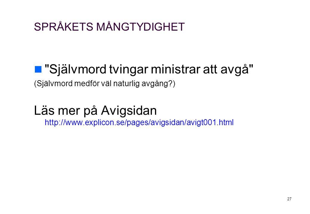 SPRÅKETS MÅNGTYDIGHET