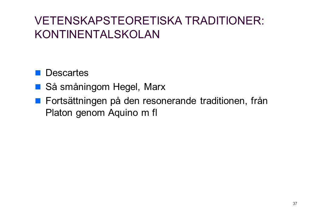VETENSKAPSTEORETISKA TRADITIONER: KONTINENTALSKOLAN