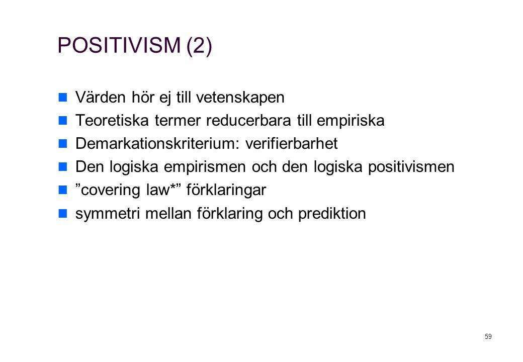 POSITIVISM (2) Värden hör ej till vetenskapen