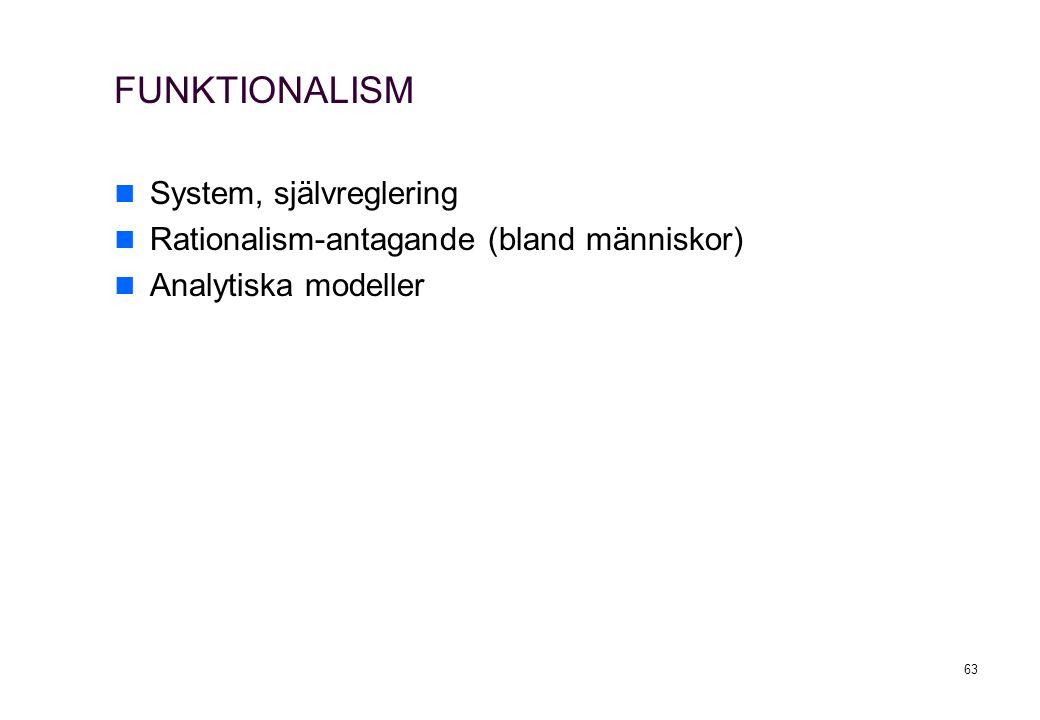 FUNKTIONALISM System, självreglering
