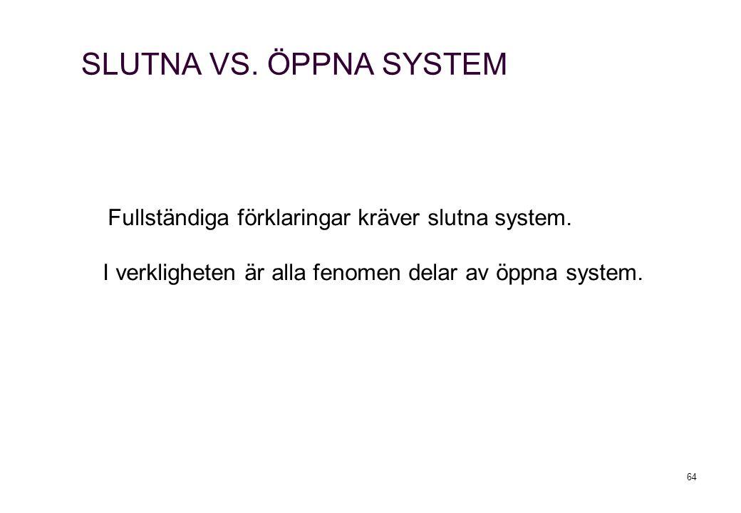 SLUTNA VS. ÖPPNA SYSTEM Fullständiga förklaringar kräver slutna system.