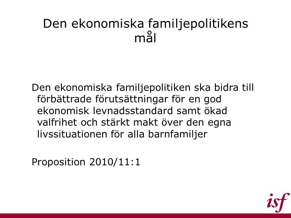 Den ekonomiska familjepolitikens mål