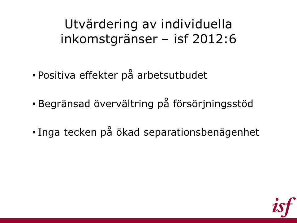 Utvärdering av individuella inkomstgränser – isf 2012:6
