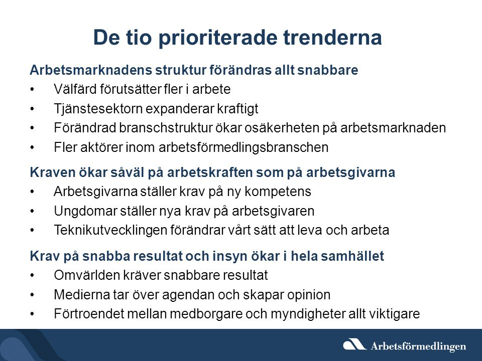 De tio prioriterade trenderna
