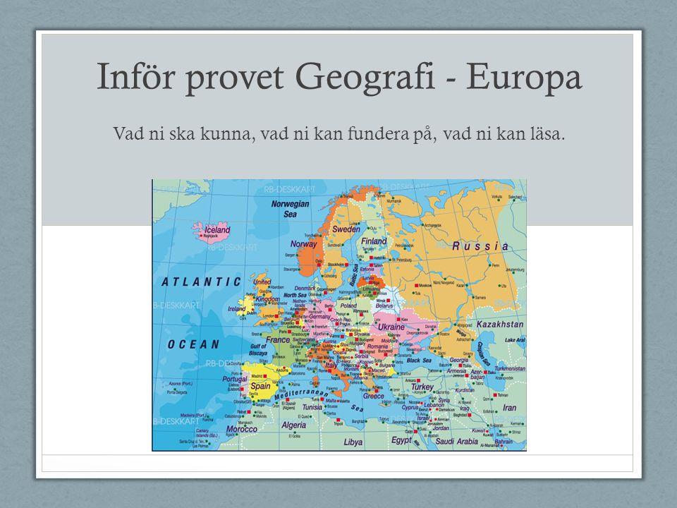 Inför provet Geografi - Europa