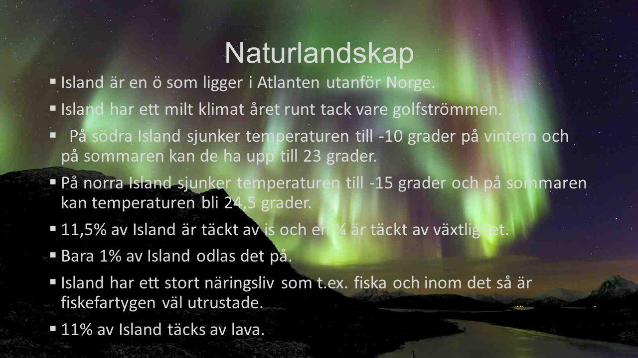 Naturlandskap Island är en ö som ligger i Atlanten utanför Norge.