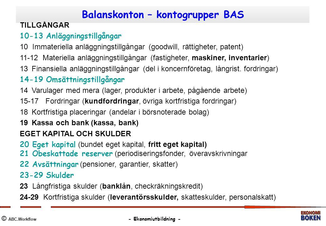Balanskonton – kontogrupper BAS