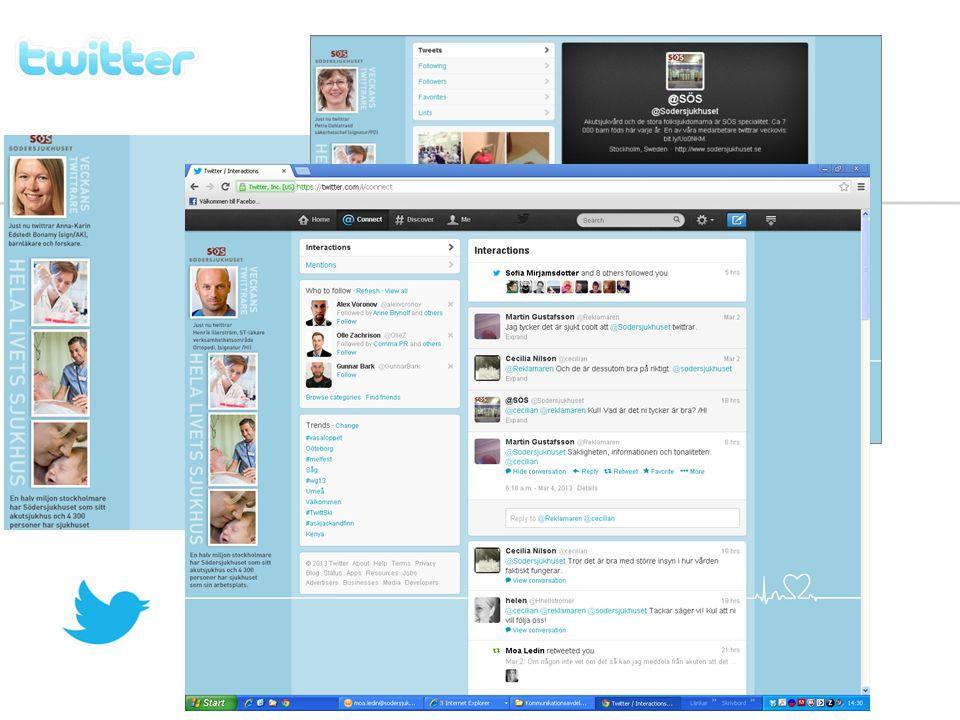 Twitter en väldigt bra omvärldsbevakare och vi kan enkelt se vad som skrivs om Södersjukhuset i olika sammanhang.
