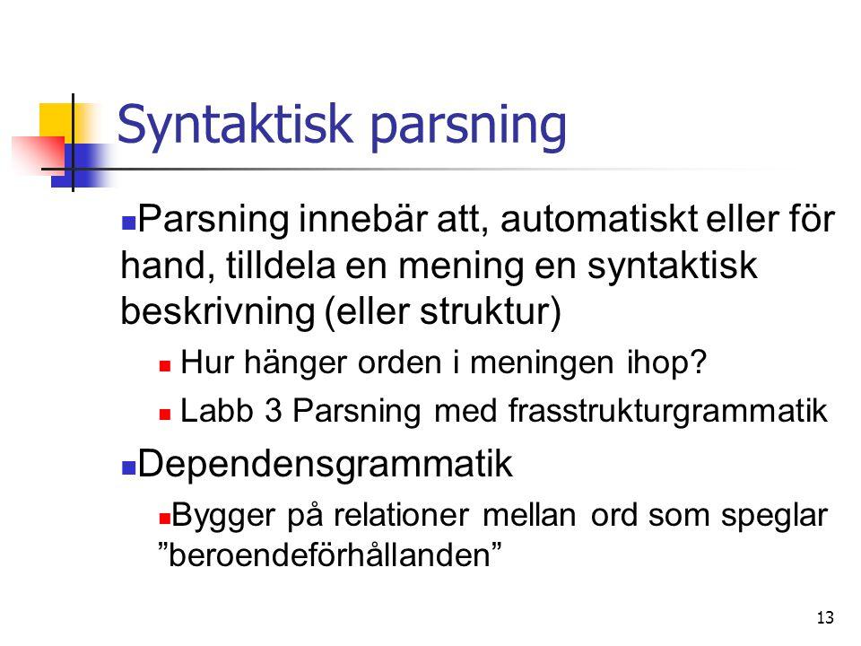 Syntaktisk parsning Parsning innebär att, automatiskt eller för hand, tilldela en mening en syntaktisk beskrivning (eller struktur)