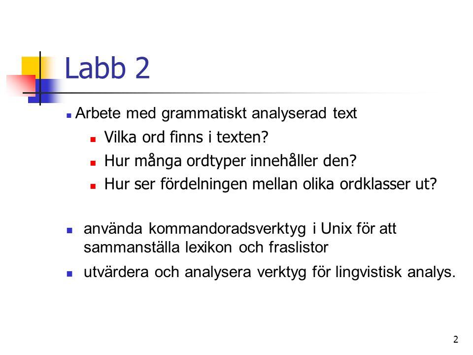 Labb 2 Vilka ord finns i texten Hur många ordtyper innehåller den