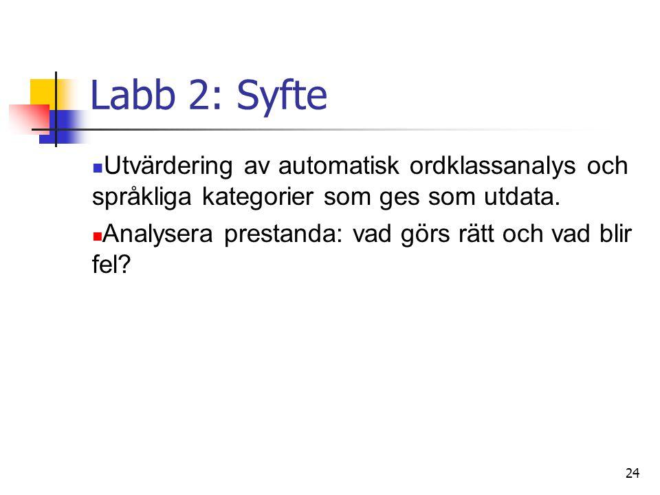Labb 2: Syfte Utvärdering av automatisk ordklassanalys och språkliga kategorier som ges som utdata.