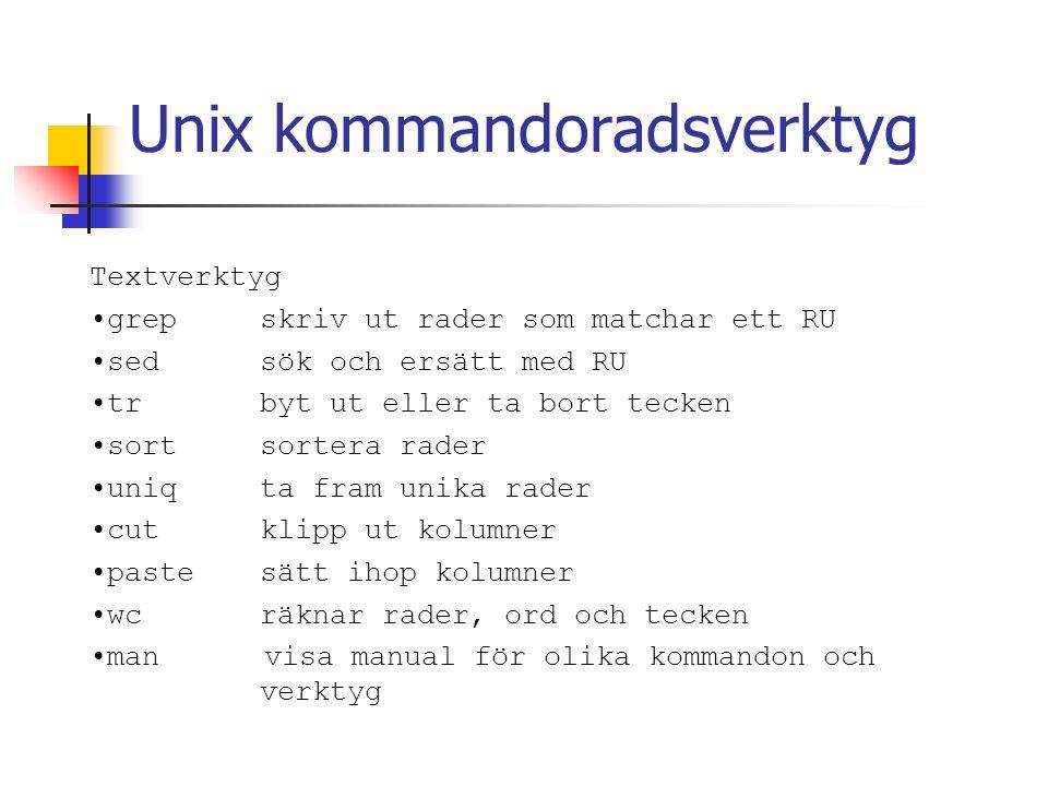 Unix kommandoradsverktyg