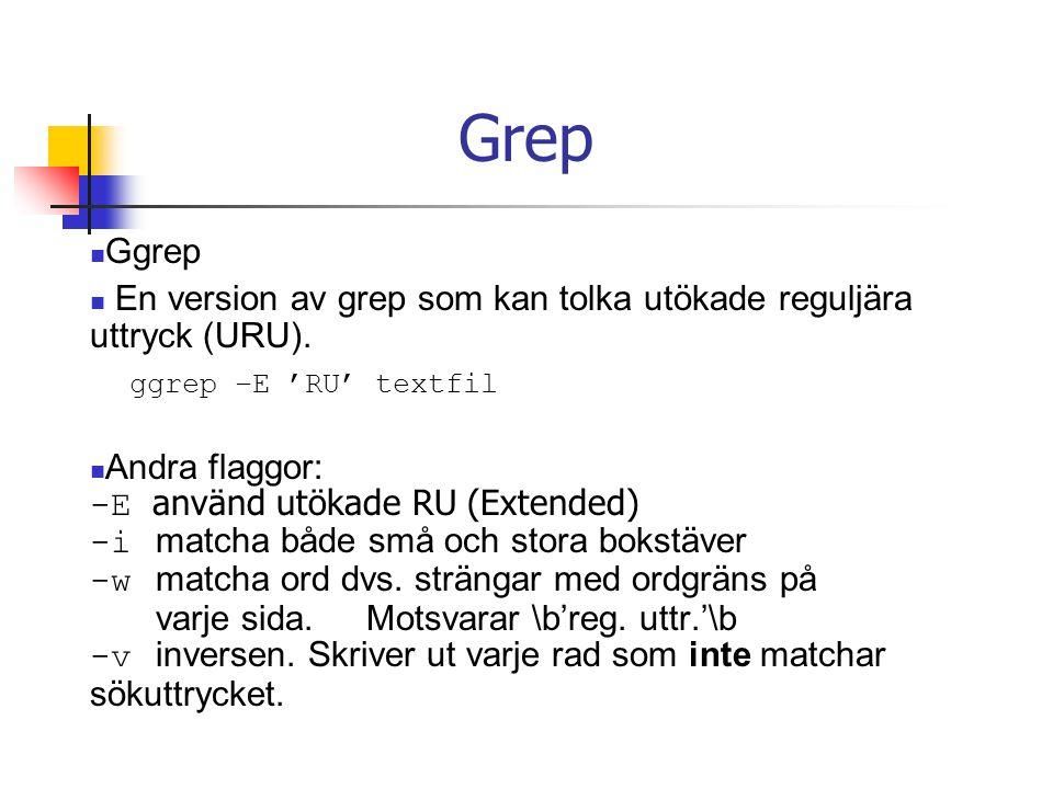 Grep Ggrep. En version av grep som kan tolka utökade reguljära uttryck (URU). ggrep –E 'RU' textfil.