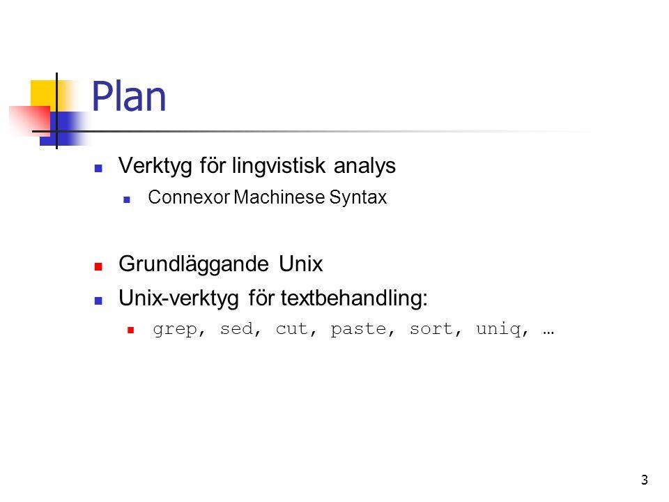 Plan Verktyg för lingvistisk analys Grundläggande Unix