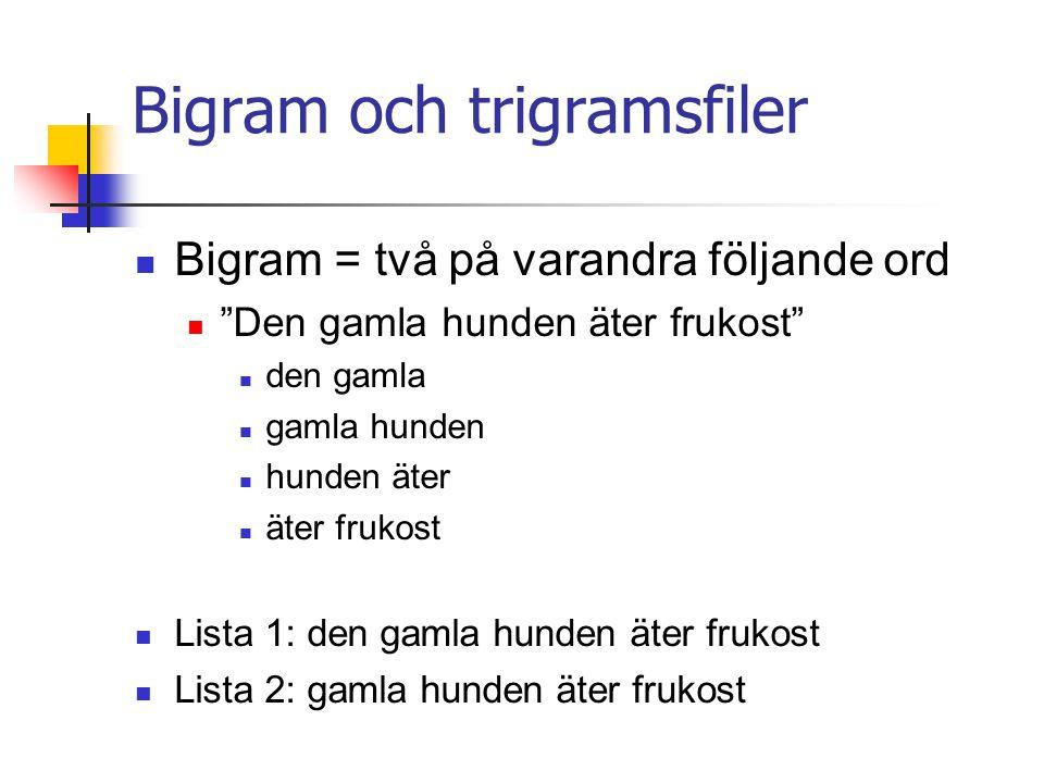 Bigram och trigramsfiler
