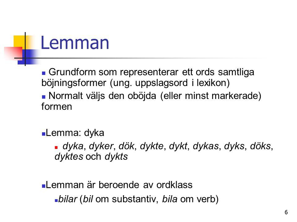 Lemman Grundform som representerar ett ords samtliga böjningsformer (ung. uppslagsord i lexikon)