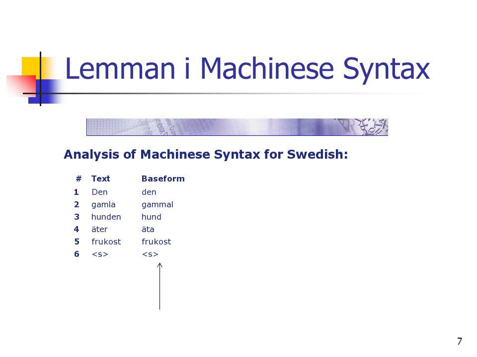 Lemman i Machinese Syntax