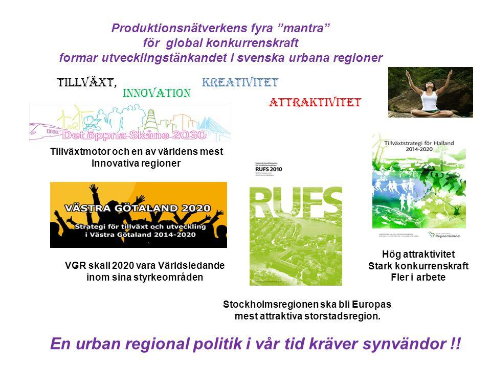 En urban regional politik i vår tid kräver synvändor !!