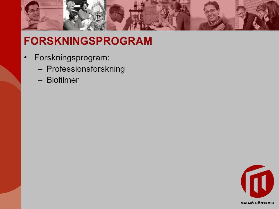 FORSKNINGSPROGRAM Forskningsprogram: Professionsforskning Biofilmer