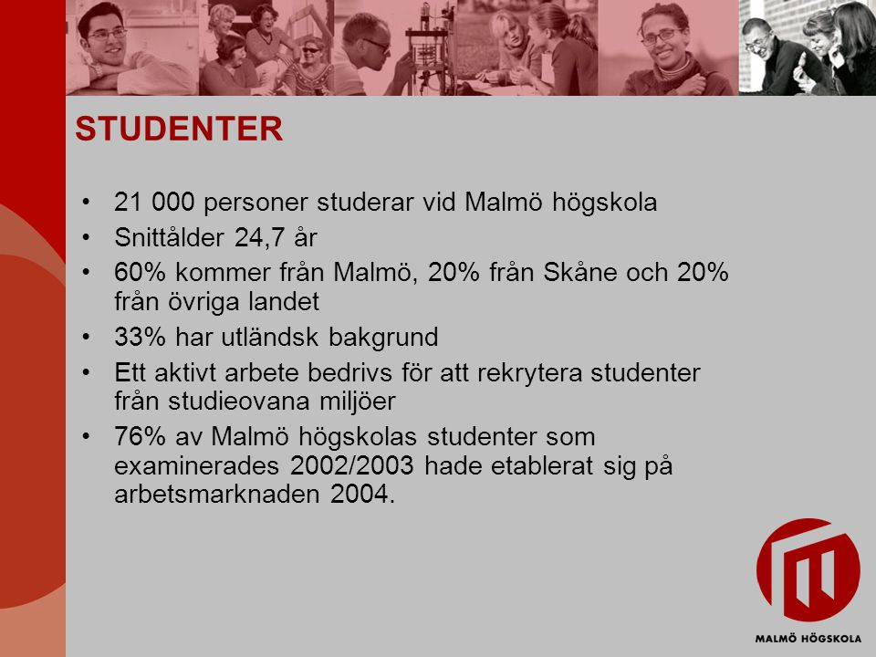 STUDENTER 21 000 personer studerar vid Malmö högskola