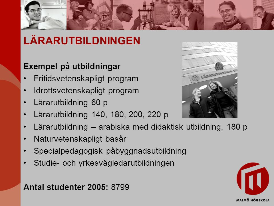 LÄRARUTBILDNINGEN Exempel på utbildningar Fritidsvetenskapligt program