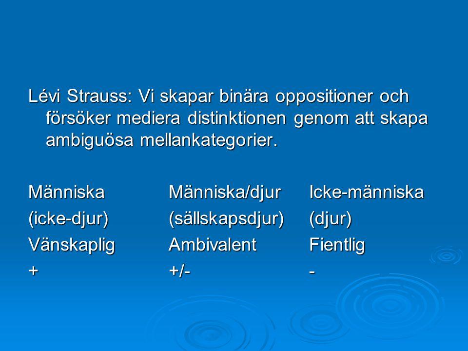 Lévi Strauss: Vi skapar binära oppositioner och försöker mediera distinktionen genom att skapa ambiguösa mellankategorier.