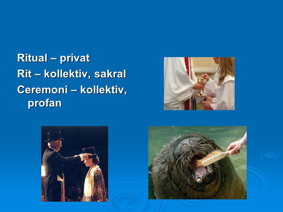 Ritual – privat Rit – kollektiv, sakral Ceremoni – kollektiv, profan