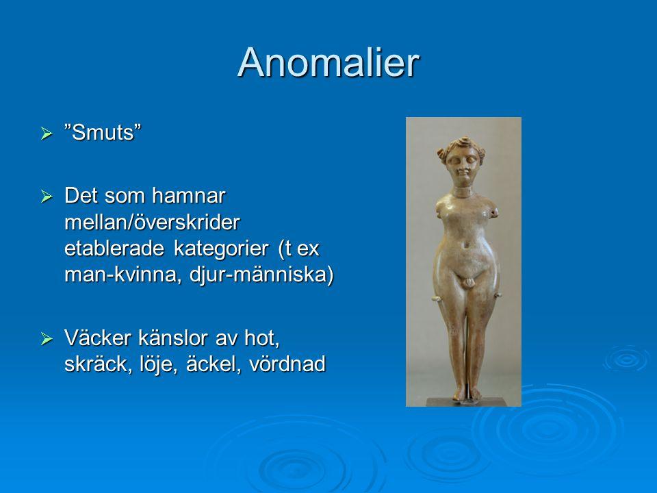 Anomalier Smuts Det som hamnar mellan/överskrider etablerade kategorier (t ex man-kvinna, djur-människa)