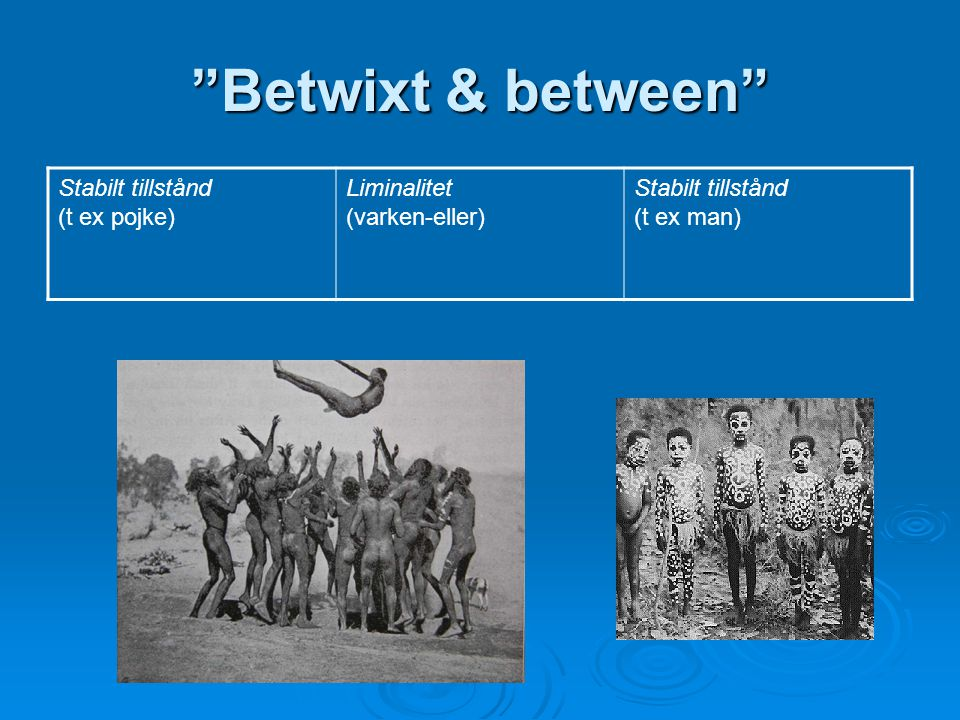 Betwixt & between Stabilt tillstånd (t ex pojke) Liminalitet