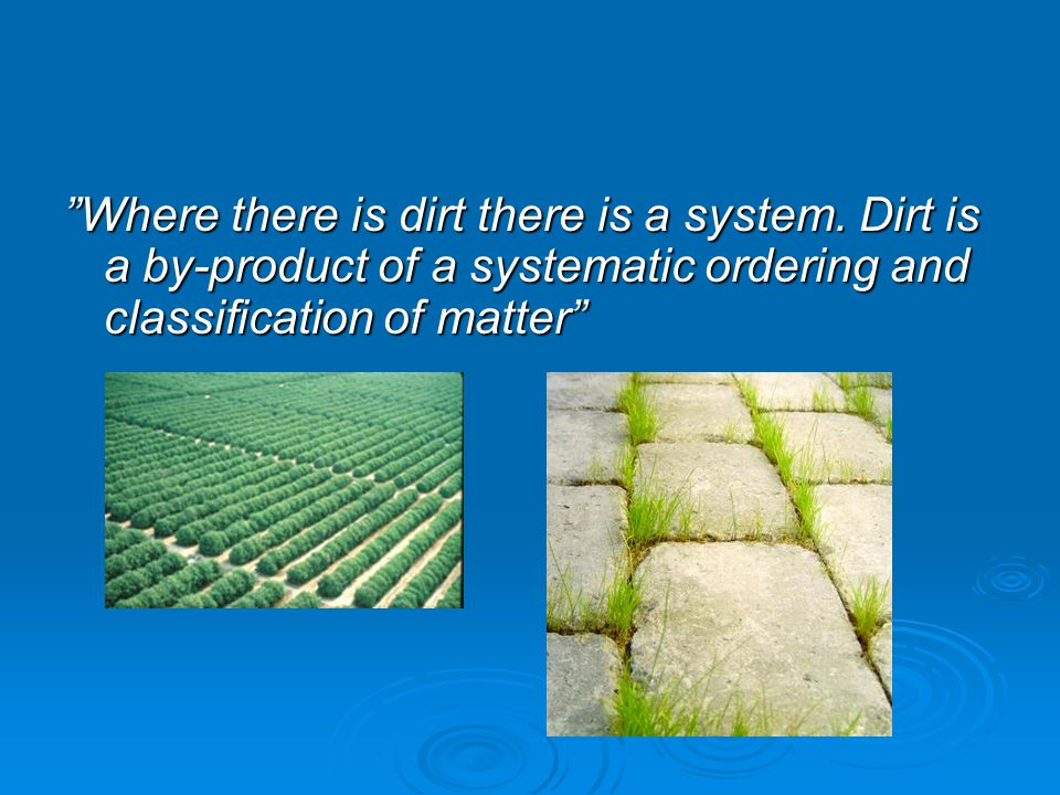 Where there is dirt there is a system