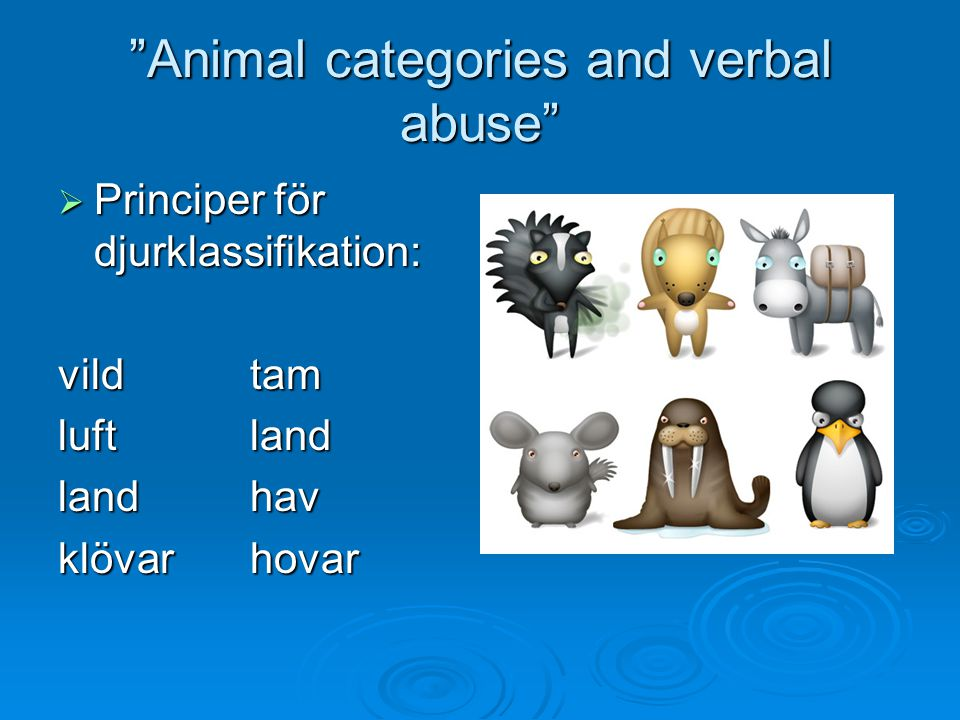 Animal categories and verbal abuse