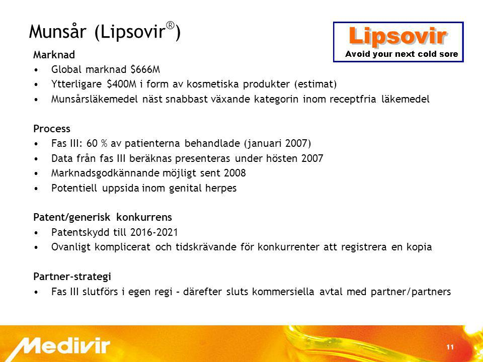 Munsår (Lipsovir®) Marknad Global marknad $666M