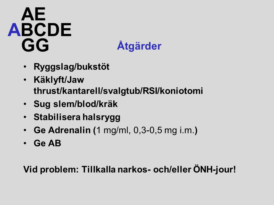 AE ABCDE GG Åtgärder Ryggslag/bukstöt