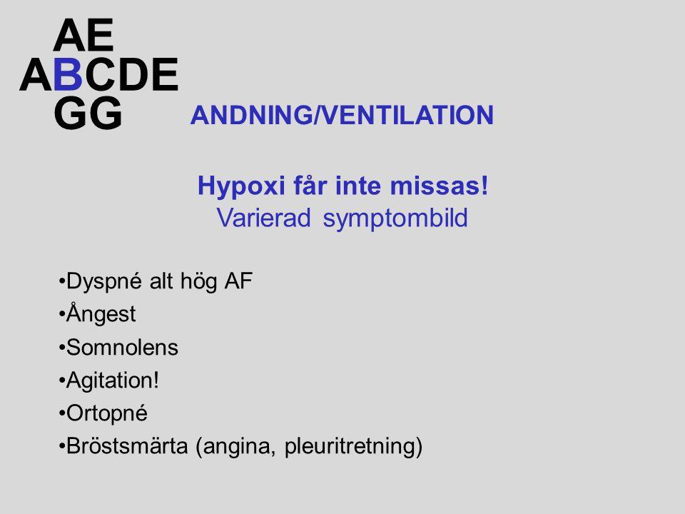 AE ABCDE GG ANDNING/VENTILATION Hypoxi får inte missas!