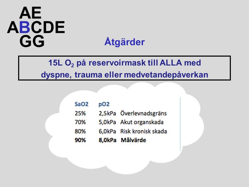 AE ABCDE GG Åtgärder 15L O2 på reservoirmask till ALLA med