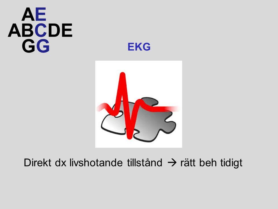 AE ABCDE GG EKG Direkt dx livshotande tillstånd  rätt beh tidigt