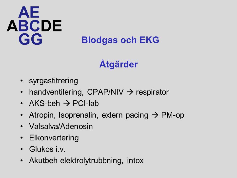 AE ABCDE GG Blodgas och EKG Åtgärder syrgastitrering
